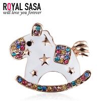 皇家莎莎RoyalSaSa韩国时尚配饰品 合金别针人造水晶胸花 胸针女-木马的心愿