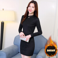 2018秋冬新款韩版加绒加厚修身显瘦包臂蕾丝连衣裙气质长袖打底裙