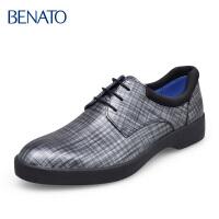 benato宾度男鞋商务休闲格纹英伦风系带日常秋冬男皮鞋