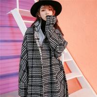 毛呢外套中�L款�n版�W生赫本�L秋冬季女新款呢子流行格子大衣
