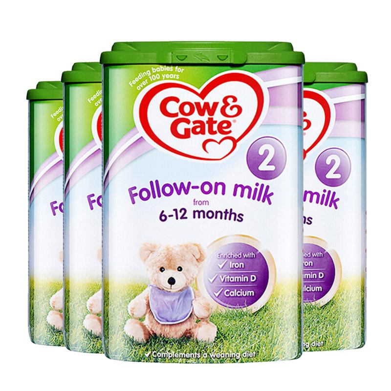 【2段】英国直邮/保税仓发货 英国Cow&Gate牛栏  婴幼儿奶粉 二段(6-12个月)  900g*4罐 海外购新老包装随 机发货 效期19.07