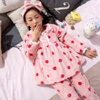 儿童睡衣秋冬季珊瑚绒长袖女童可爱小孩家居服宝宝套装