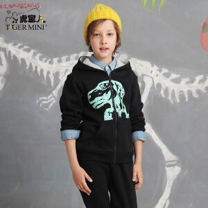 男童春秋套装 儿童恐龙拉绒加厚休闲两件套中大童小虎宝儿童装潮