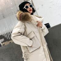 大毛领羽绒服女中长款欧货2018新款潮韩版小个子反季女外套