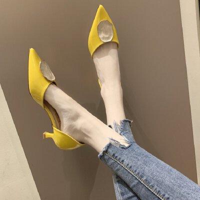 小清新高跟鞋女ins潮鞋2019新款少女漆皮尖头浅口女鞋子中空单鞋