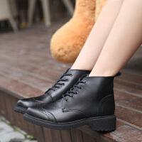 新款马丁短靴女女生高帮布洛克皮靴防滑耐磨休闲靴女
