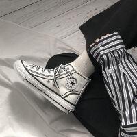 漫画帆布鞋女学生韩版ulzzang手绘潮鞋子2019新款春秋百搭高帮鞋