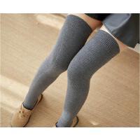 过膝长袜子女秋冬季厚款保暖羊毛长腿过膝盖长筒高筒灰色冬天