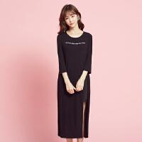 美特斯邦威 连衣裙女士新款中长款连衣裙九分袖舒适时尚裙子潮