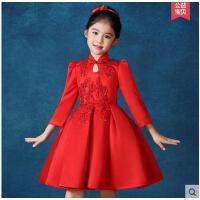 复古优雅中式立领女童婚纱长袖连衣裙精美刺绣时尚大方短裙花童儿童礼服公主裙