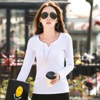 春装新款韩版百搭纯色V领显瘦纯棉长袖T恤大码女士打底衫体恤WK5198