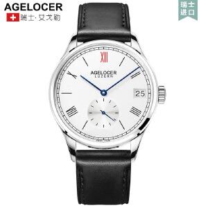 艾戈勒手表男全自动机械表超薄简约男士腕表防水休闲皮带男表
