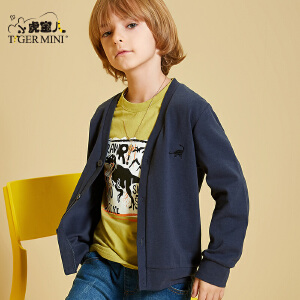 小虎宝儿童装男童纯棉针织衫春秋款毛衣3-10岁儿童V领开衫外套潮
