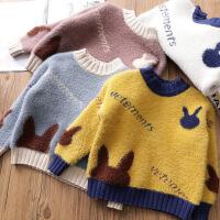 女童针织衫秋冬宝宝圆领毛衣儿童宽松上衣童装