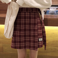 ins裙子韩版复古短裙女秋冬chic不规则格子半身裙高腰A字裙包臀裙