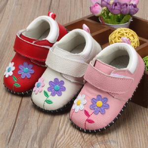 牛皮女宝宝学步鞋婴幼儿0-1岁手工防滑软底新生儿鞋子幼童单鞋