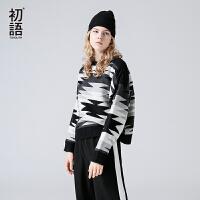 免初语 2017冬季新款 黑白撞色圆领长袖宽松套头软妹慵懒毛衣女