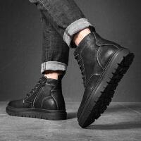 马丁靴男潮英伦韩版潮流百搭高帮男鞋潮男靴子中帮青年男士短靴 黑色 40