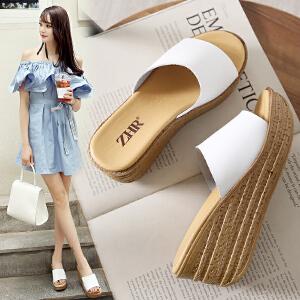 专柜同款【真皮】坡跟凉拖鞋女学生韩版一字厚底休闲女鞋V35