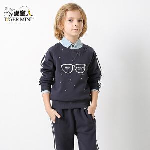 小虎宝儿童装男童运动套装秋装2017新款 韩版儿童两件套秋季新品