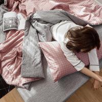 【】放心购 纯棉空调被四件套全棉夏天凉被子春秋单双人薄款可水洗被芯三件套 +床单+枕套一对