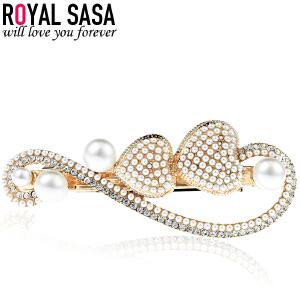 皇家莎莎RoyalSaSa时尚人造水晶合金发夹韩国发卡子爱心头饰弹簧夹发饰盘发顶夹S603003