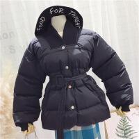 2018冬季新款韩版时尚V领系腰带休闲收腰棉衣加厚面包外套女 均码