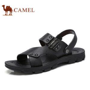 camel骆驼男鞋  夏季新款 休闲男凉鞋 日常休闲真皮牛皮男凉鞋