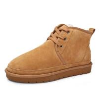 骆驼牌男鞋 冬季加绒加厚保暖鞋子 短筒防滑雪地靴男士棉鞋