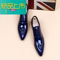 新品上市潮流男士韩版尖头皮鞋内增高型师夜店漆皮皮鞋商务正装婚鞋亮皮