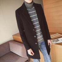秋冬风衣男中长款韩版修身百搭外套帅气学生加绒加厚毛呢子大衣潮