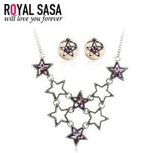 皇家莎莎项链耳饰套装 仿水晶五角星星大小双面耳钉夸张颈链首饰
