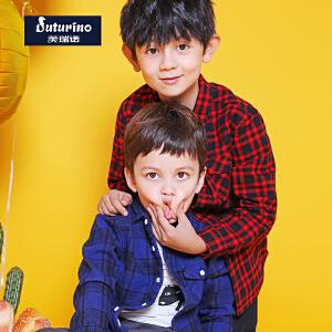 【3件3折到手价:59】芙瑞诺Futurino童装男童春装格子长袖衬衫加绒多色选