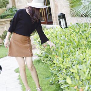韩版系带七分袖上衣2017秋装新款金属环圈蝴蝶结绑带不对称针织衫