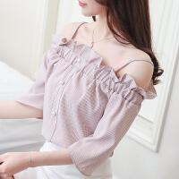 格子衬衫女短袖夏装韩版学生百搭雪纺一字领露肩上衣洋气小衫