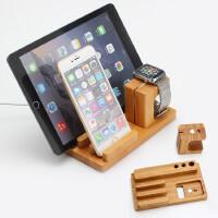 iPhone8x苹果手表支架iwatch1234充电木质多功能桌面平板手机底座 竹木款