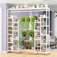 阳台置物架固定阳台边铁艺多层花架室内简约落地多功能隔断花盆架绿萝吊兰架