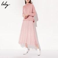 Lily春新款女装浅粉H型毛衣百褶网纱裙两件套连衣裙