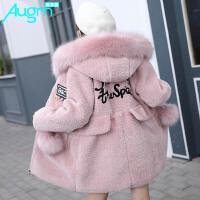 奥戈曼(Augm) 女童冬季连帽棉衣2017冬装新款加厚中大儿童保暖外套韩版棉服上衣