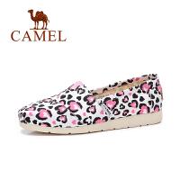 Camel/骆驼女鞋 春季新款时尚个性印花乐福鞋 平底帆布鞋女