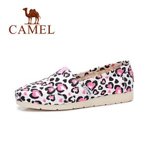Camel/骆驼女鞋 2017春季新款时尚个性印花乐福鞋 平底帆布鞋