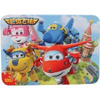 古部拼图 积木拼插玩具 超级飞侠100片铁盒木质拼图木制玩具 11JF2552