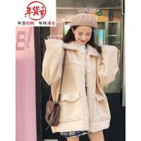 冬季女装韩版复古翻领加厚仿羊羔毛棉衣BF风宽松长袖休闲外套 均码
