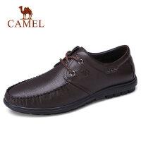 camel 骆驼男鞋2018新品低帮系带商务休闲春季休闲鞋男士皮鞋子