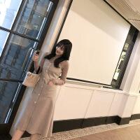 №【2019新款】冬天美女穿的背带裙收腰加厚毛呢连衣裙女中长款气质吊带裙