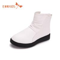 【1件2折后:49元】红蜻蜓童鞋冬款英伦风中筒皮面防水防滑百搭儿童皮靴