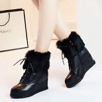 娜箐箐冬新款牛皮坡跟高跟兔毛中筒靴女保暖圆头舒适真皮女靴