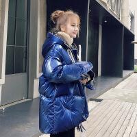银色亮面羽绒服女2018新款潮冬季短款韩版时尚加厚连帽面包服外套 蓝色 S
