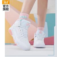 【超品预估价:114】361女鞋运动鞋2020秋冬季新款361度高帮板鞋保暖百搭休闲鞋小白鞋