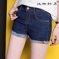 夏季新款卷边牛仔短裤女弹力显瘦小脚修身百搭牛仔裤韩国时尚WM565